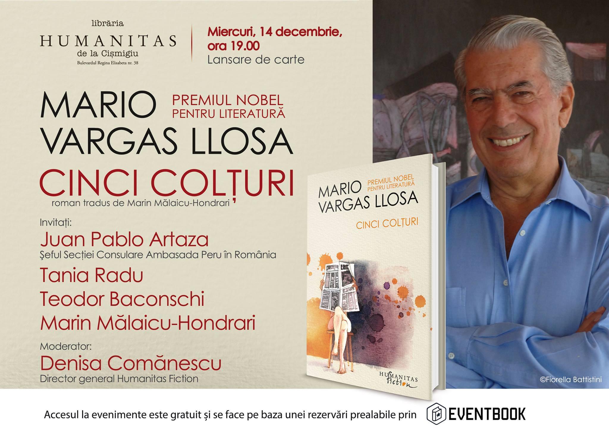 "Despre ""Cinci Colţuri"", cel mai nou roman de Mario Vargas Llosa"