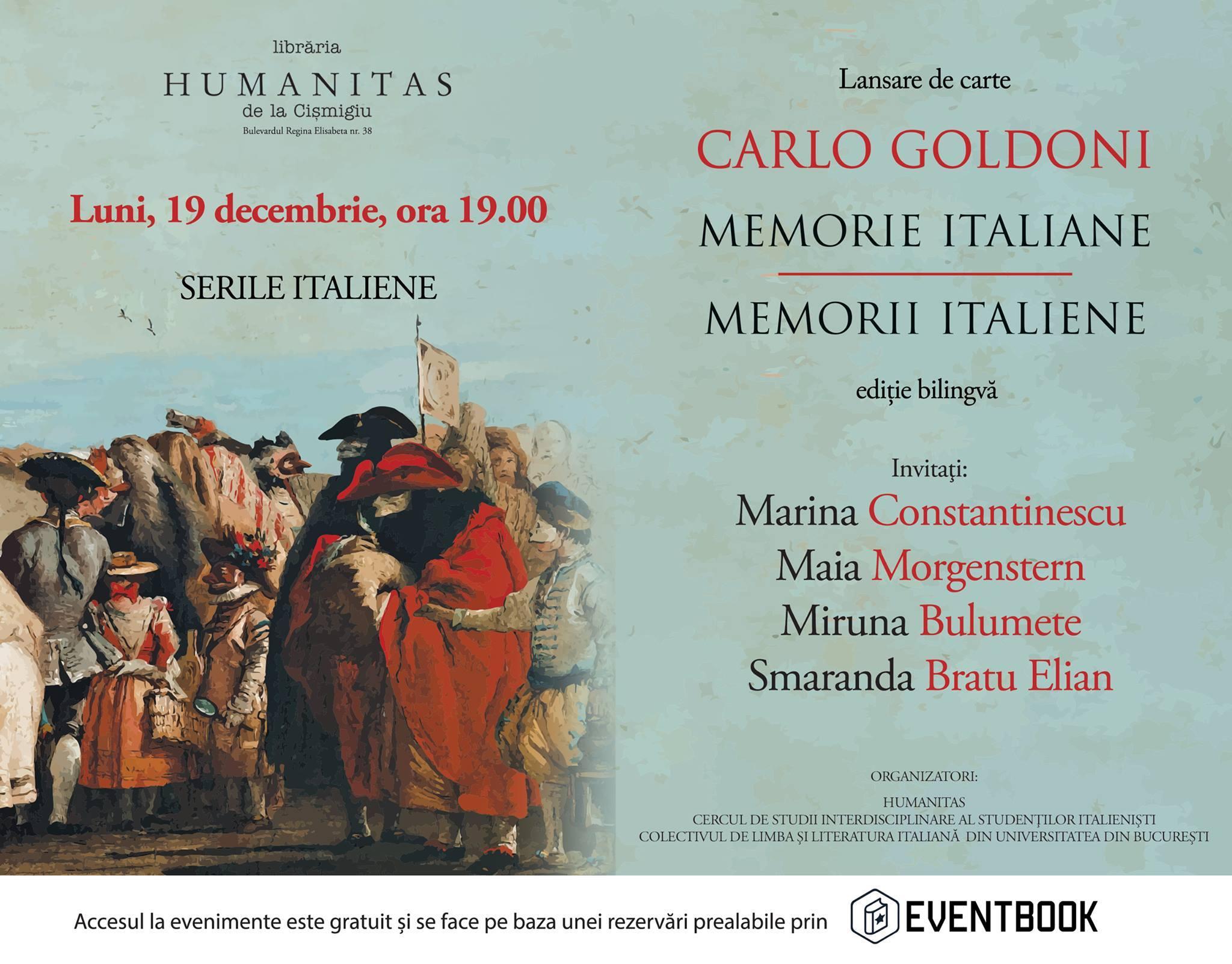 """Seară Italiană - lansarea volumului """"Memorii italiene"""" de Carlo Goldoni"""