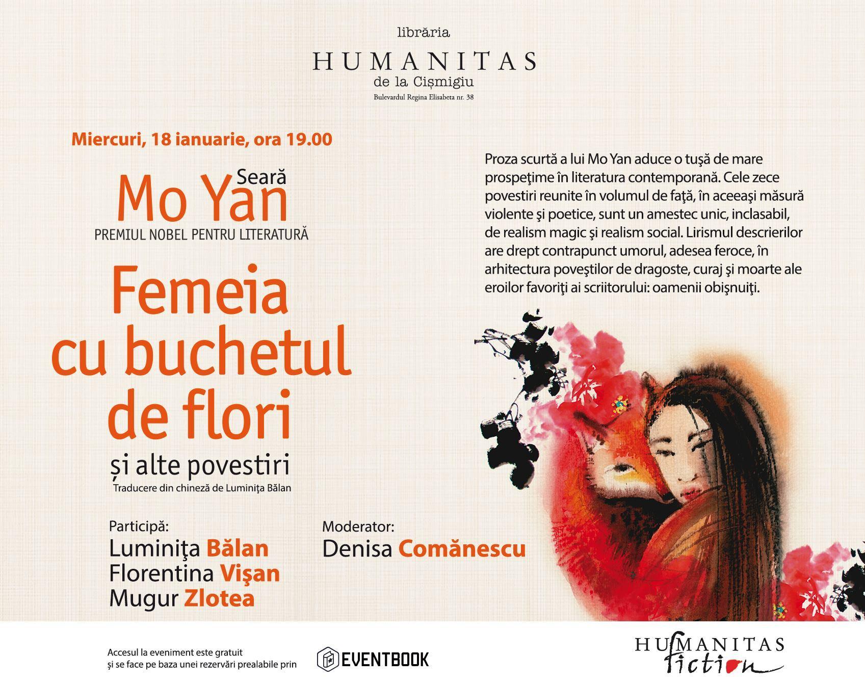 """Seară Mo Yan - """"Femeia cu buchet de flori şi alte povestiri"""""""