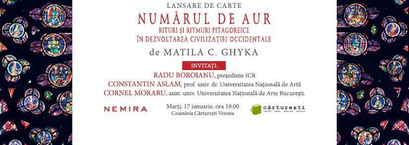 """Lansare """"Numărul de aur"""", de Matila C. Ghyka"""