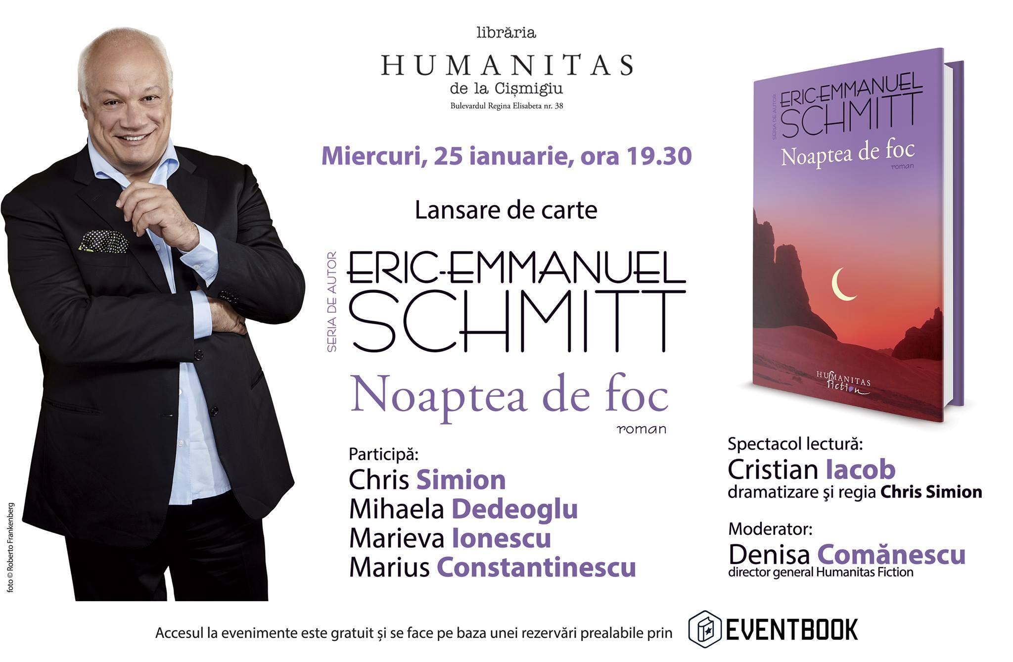 """""""Noaptea de foc"""" de E.E. Schmitt–lansare cu spectacol lectură"""