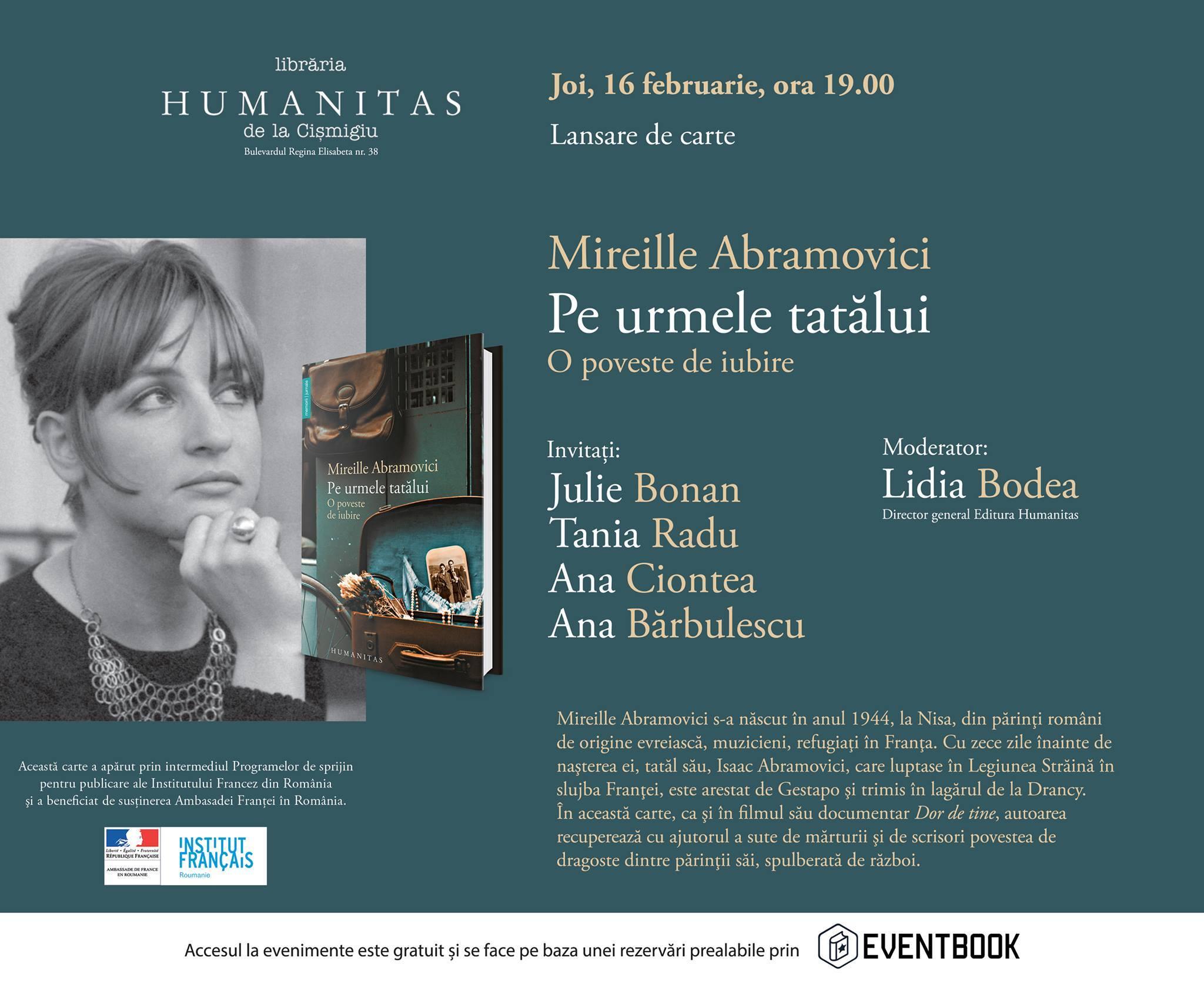 """Lansare Mireille Abramovici """"Pe urmele tatălui"""""""
