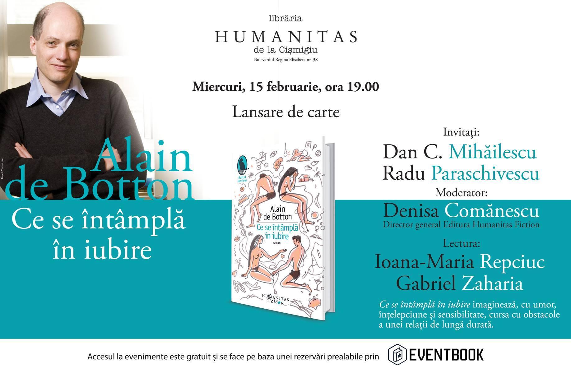 """Lansare Alain de Botton, """"Ce se întâmplă în iubire"""""""