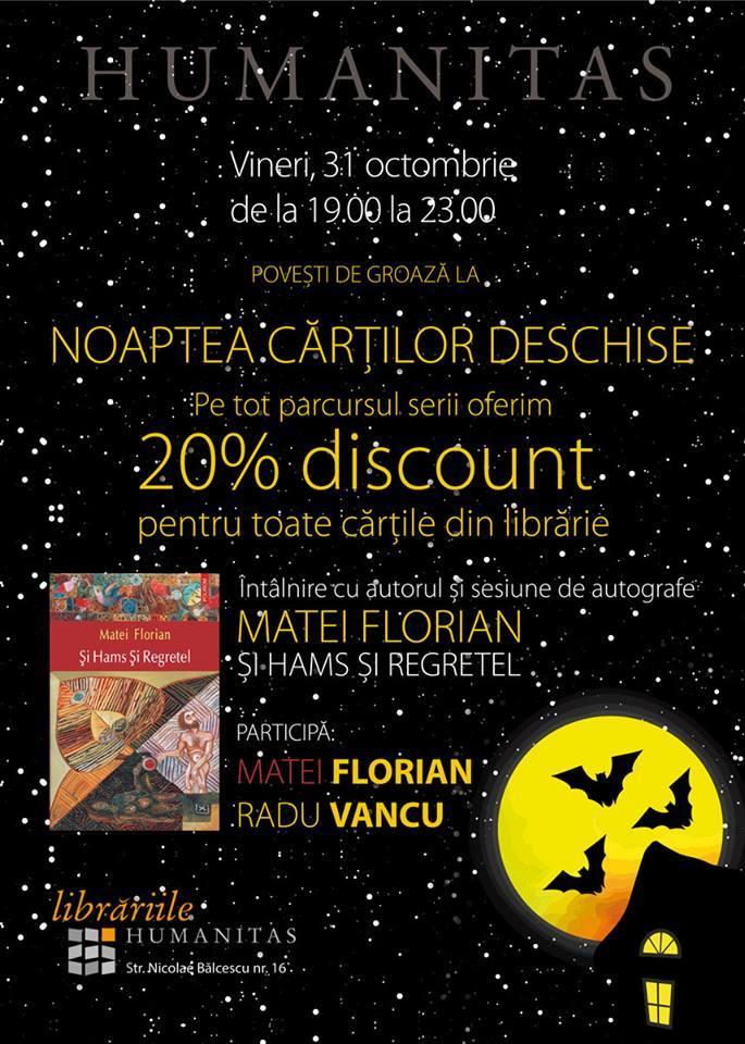 Noaptea Cărților Deschise - întâlnire cu autorul Matei Florian