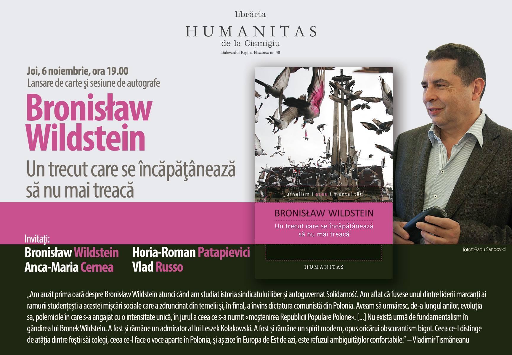 Lansare Bronisław Wildstein la Librăria Humanitas de la Cişmigiu