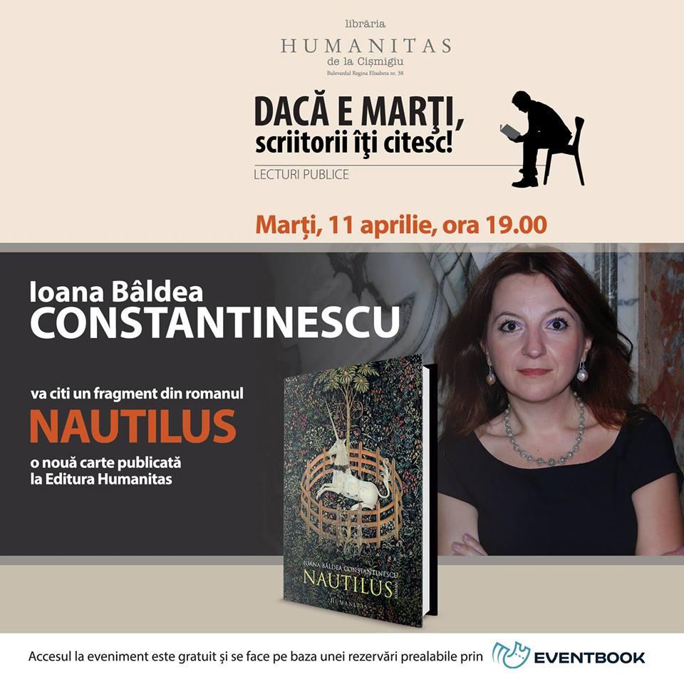 Ioana Bâldea Constantinescu, lectură publică din noul roman