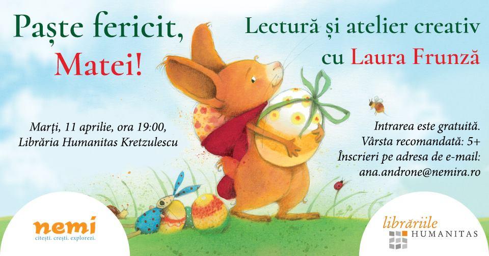 """Atelier Nemi de lectură şi creaţie: """"Paşte fericit, Matei!"""""""