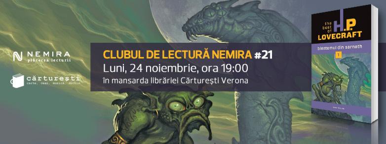 """Clubul de lectură Nemira #21 - """"Blestemul din Sarnath"""" de H.P. Lovecraft"""