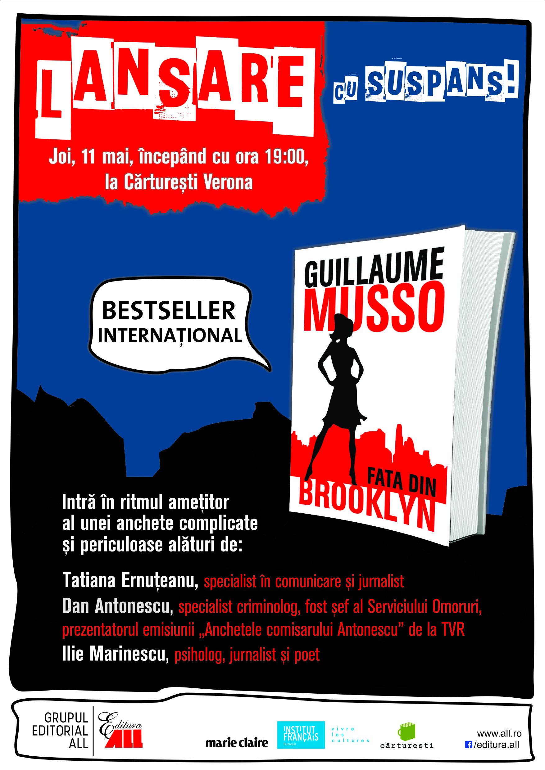 """Lansare de carte """"Fata din Brooklyn"""", de Guillaume Musso"""
