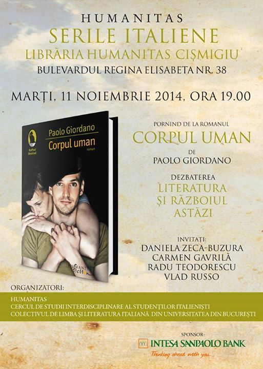 Seară italiană la Librăria Humanitas de la Cişmigiu