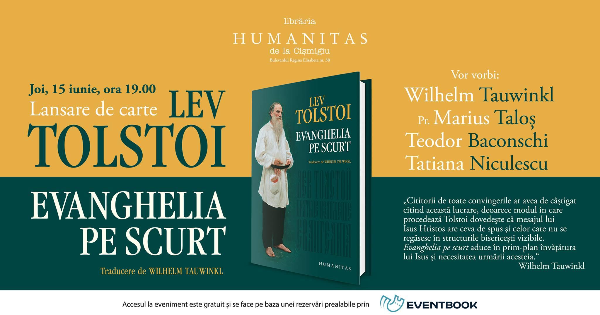 """Lansarea volumului """"Evanghelia pe scurt"""", de Lev Tolstoi"""