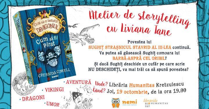 """Atelier de storytelling cu Liviana Tane: """"Cum să fii pirat"""""""