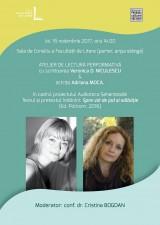 Atelier de lectură performativă, cu scriitoarea și traducătoarea Veronica D. Niculescu și actrița Adriana Moca