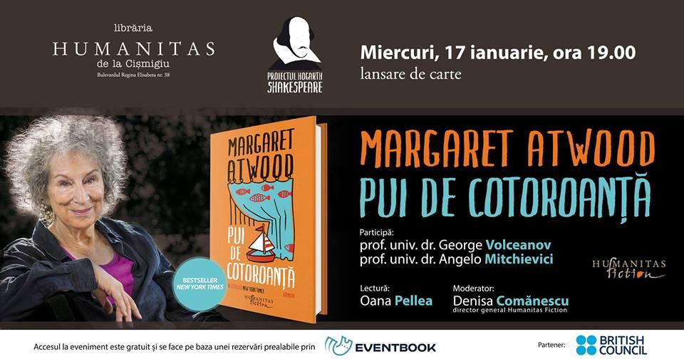 """Lansare """"Pui de cotoroanță"""", de Margaret Atwood"""