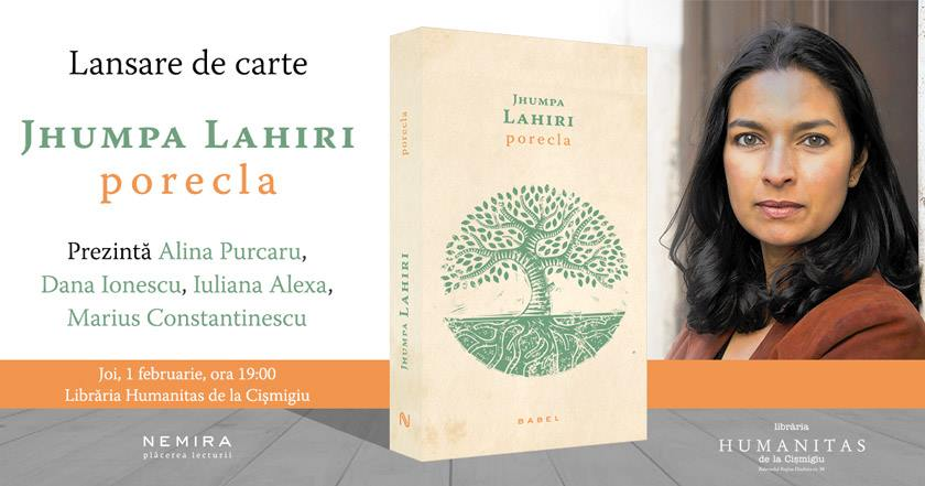 """Lansare de carte: """"Porecla"""", de Jhumpa Lahiri"""