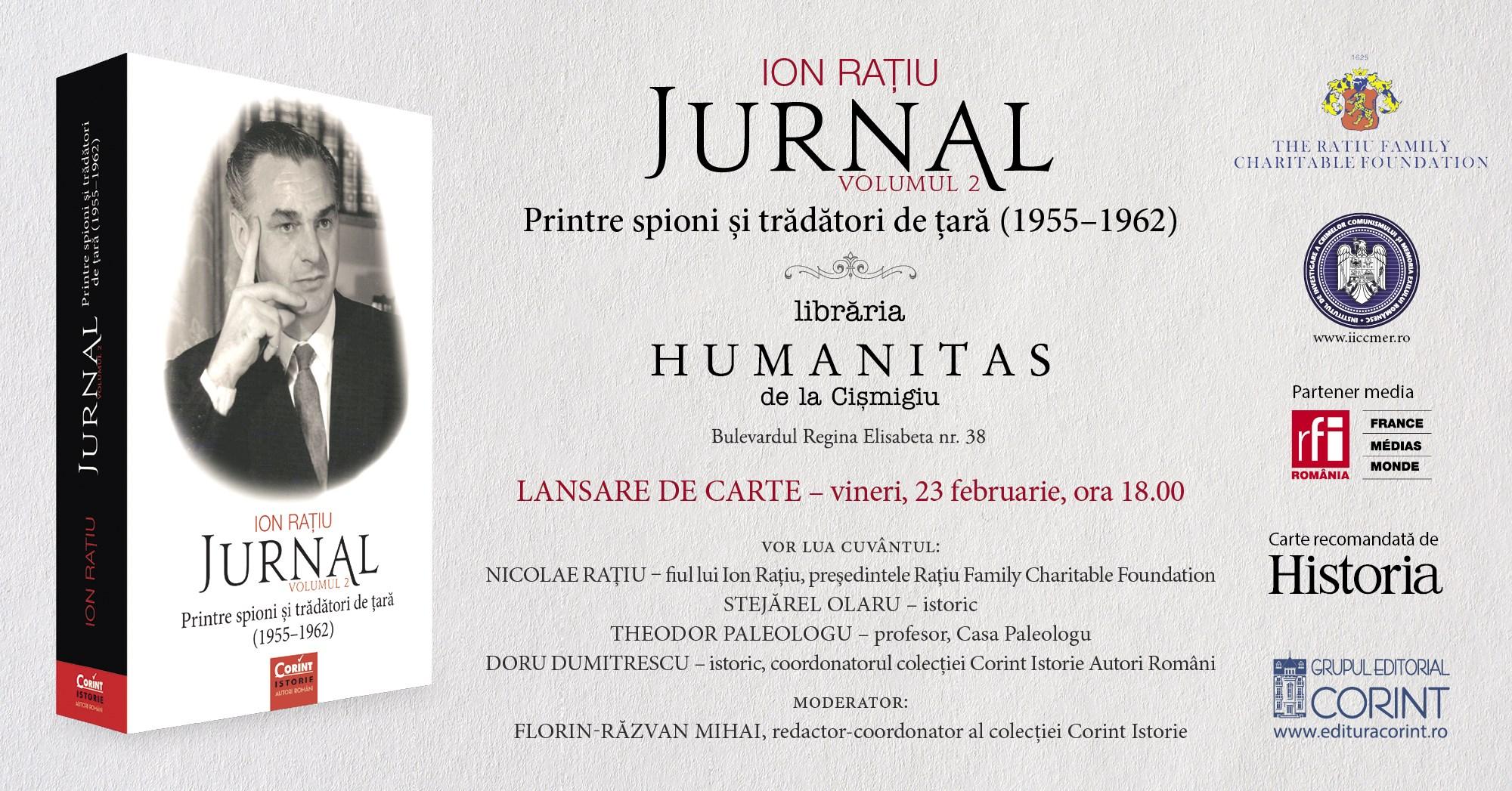 """Lansare """"Jurnal. Printre spioni și trădători de țară (1955-1962)"""", de Ion Rațiu"""