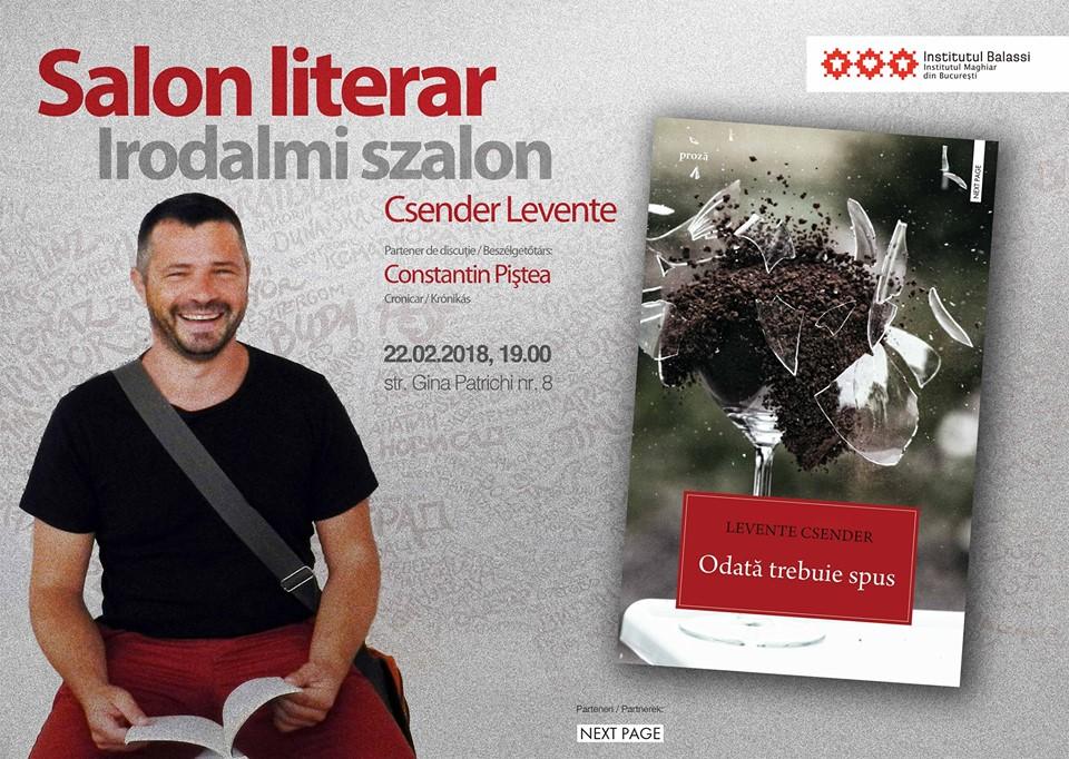 Salon literar / Irodalmi szalon: Csender Levente