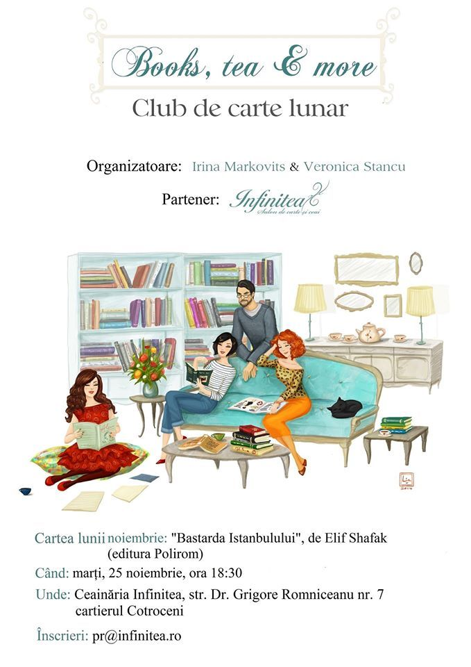 "Books, tea & more – Club de carte lunar: ""Bastarda Istanbulului"", de Elif Shafak"
