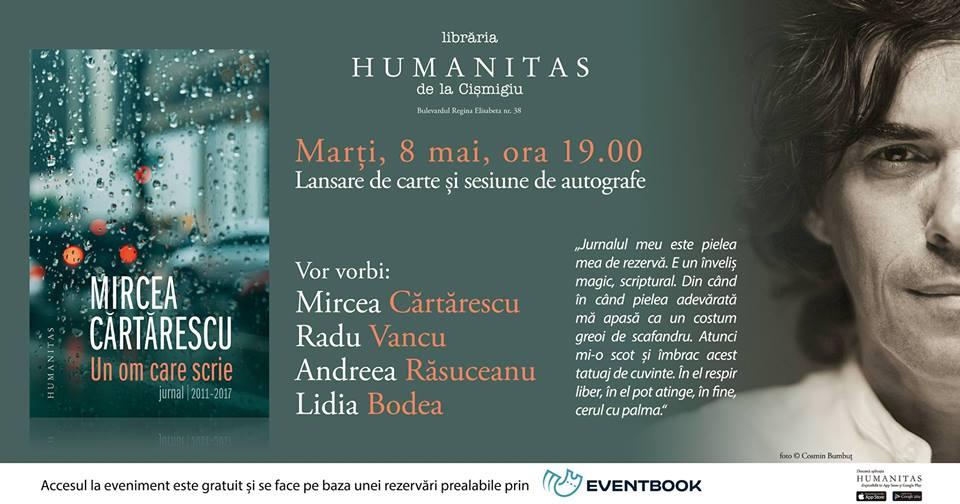 Eveniment Mircea Cărtărescu – Un om care scrie. Jurnal/2011-2017