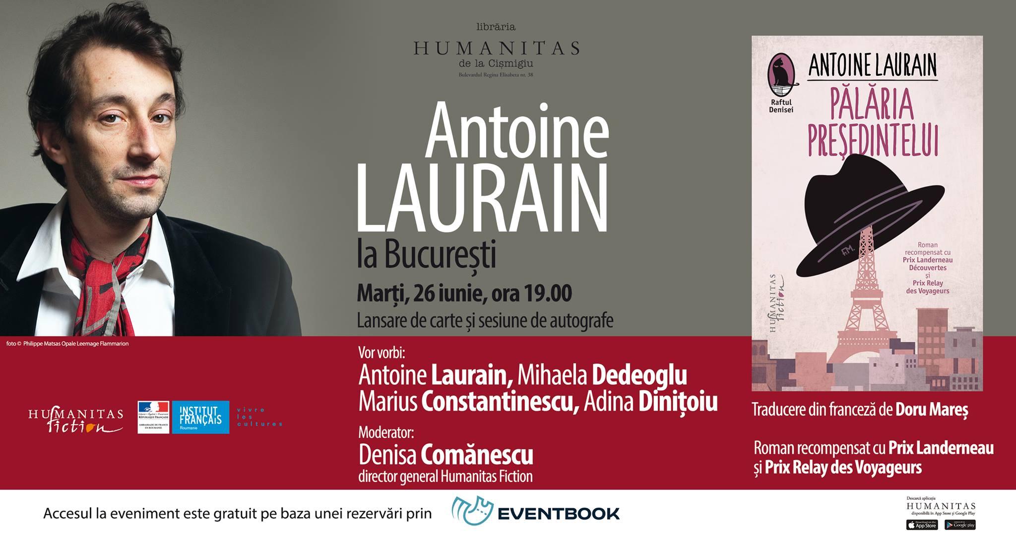 """Antoine Laurain la București – lansare """"Pălăria Președintelui"""""""