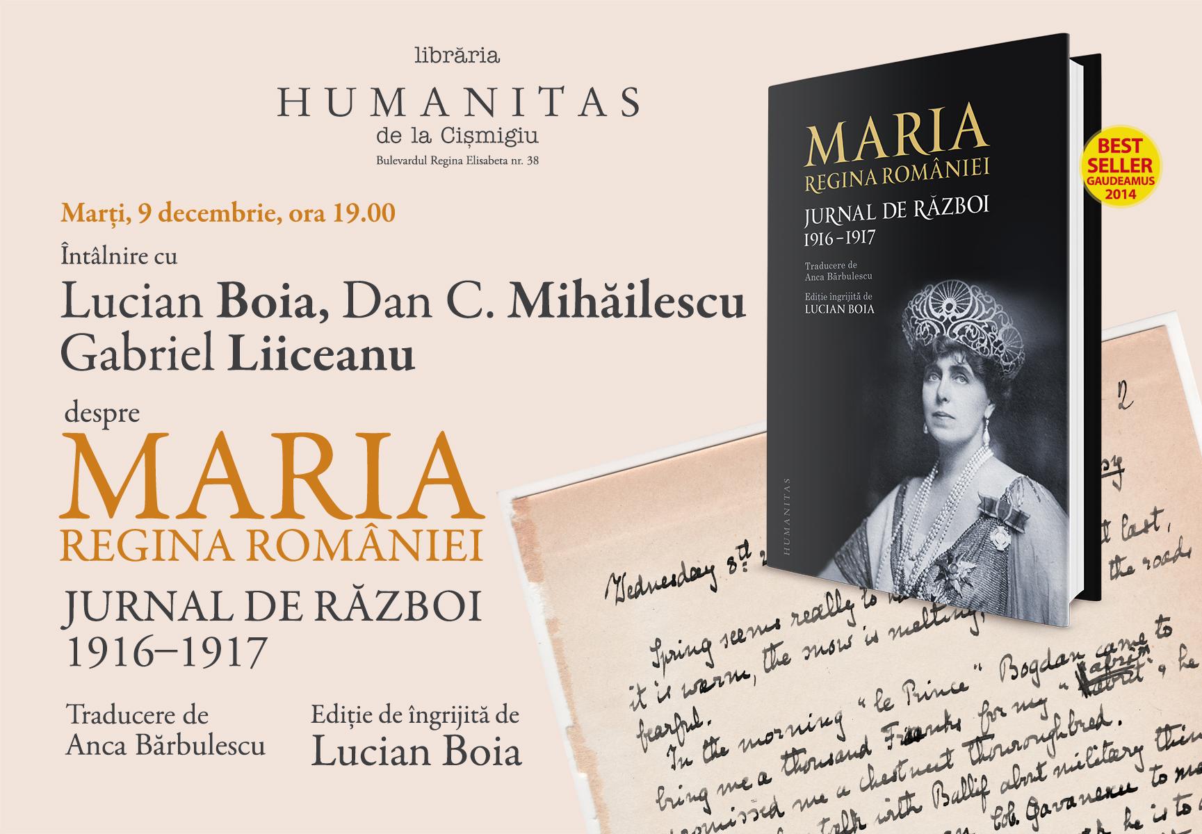 Lucian Boia, Dan C. Mihăilescu şi Gabriel Liiceanu despre Jurnalul de război al reginei Maria