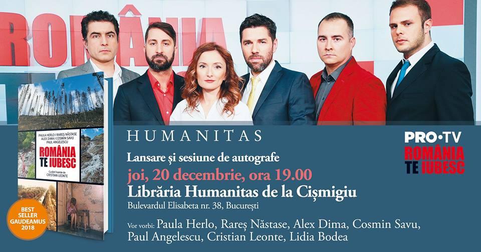 """Lansare """"România, te iubesc!"""" la Humanitas Cișmigiu"""