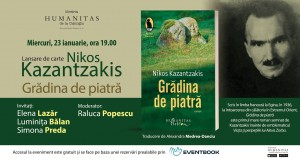 """Lansare """"Grădina de piatră"""", de Nikos Kazantzakis"""
