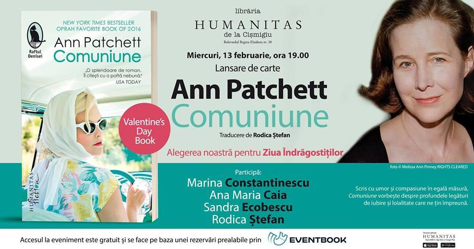 "Lansare ""Comuniune"", de Ann Patchett, Valentine's Day Book"