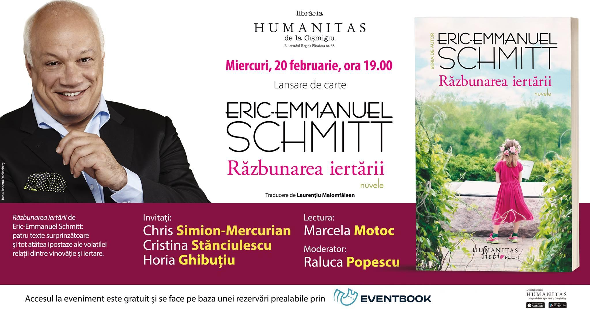 """Lansare Eric-Emmanuel Schmitt – """"Răzbunarea iertării"""""""