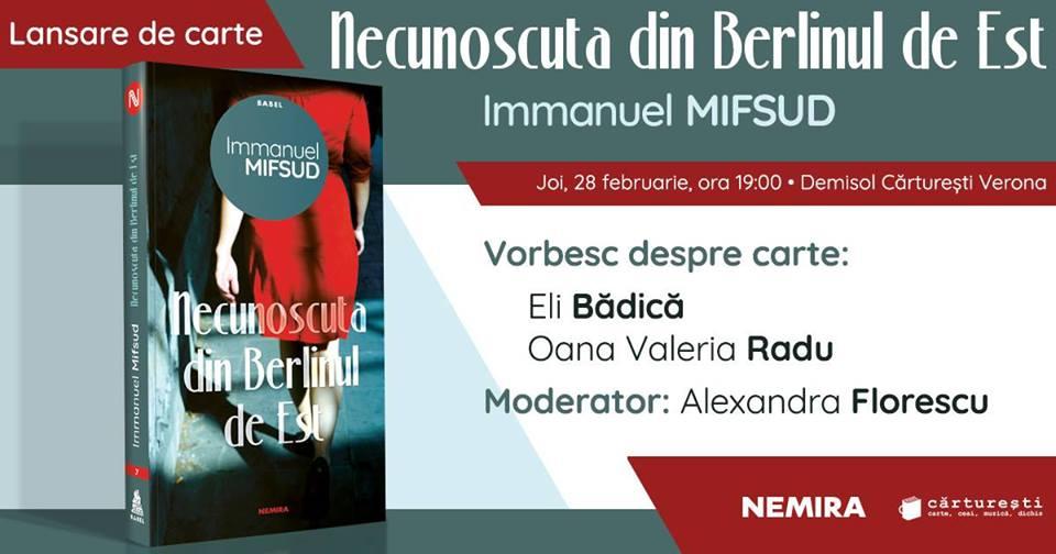 """Lansare de carte: """"Necunoscuta din Berlinul de Est"""", de Immanuel Mifsud"""