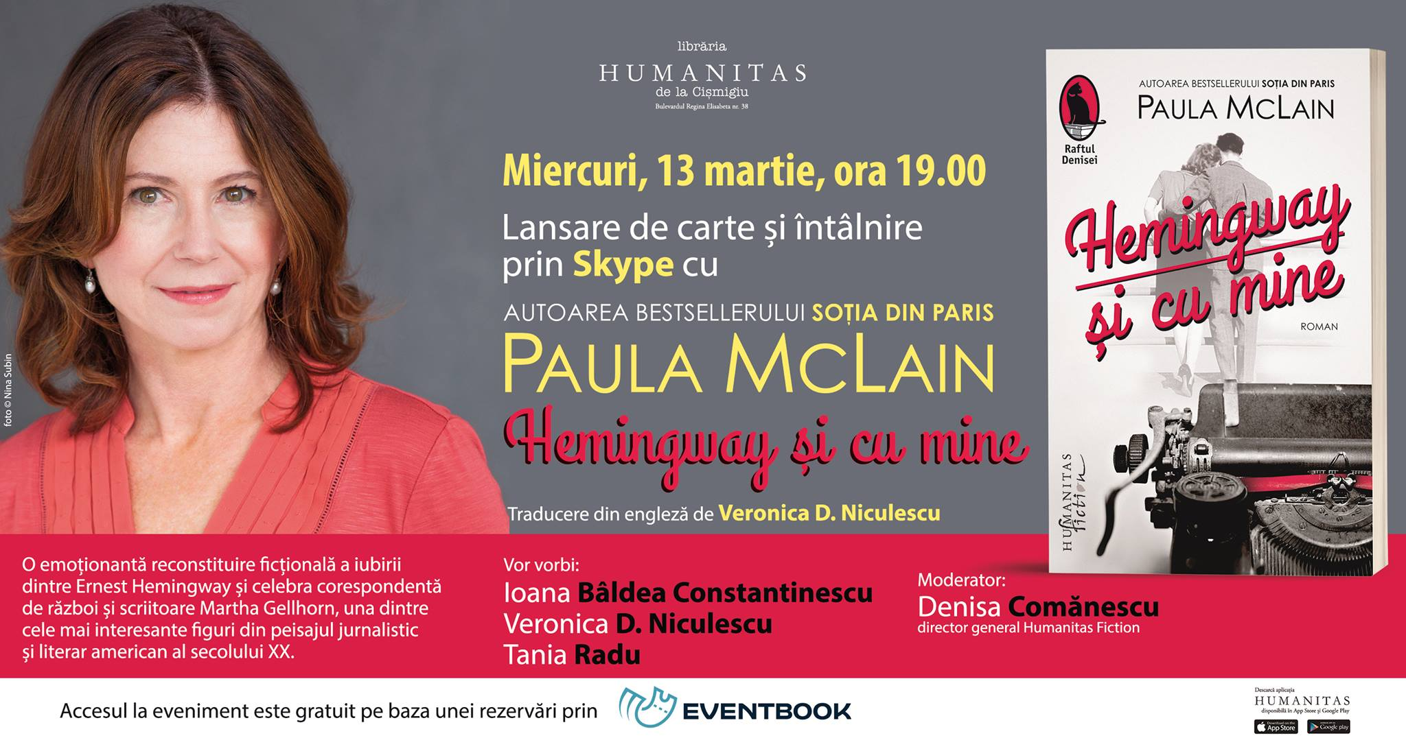 """Lansare """"Hemingway și cu mine"""", de Paula McLain"""