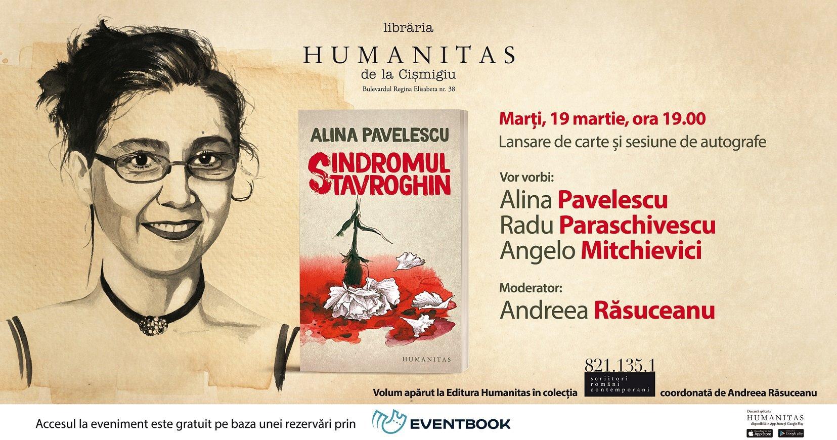 """Lansare """"Sindromul Stavroghin"""", un nou roman de Alina Pavelescu"""