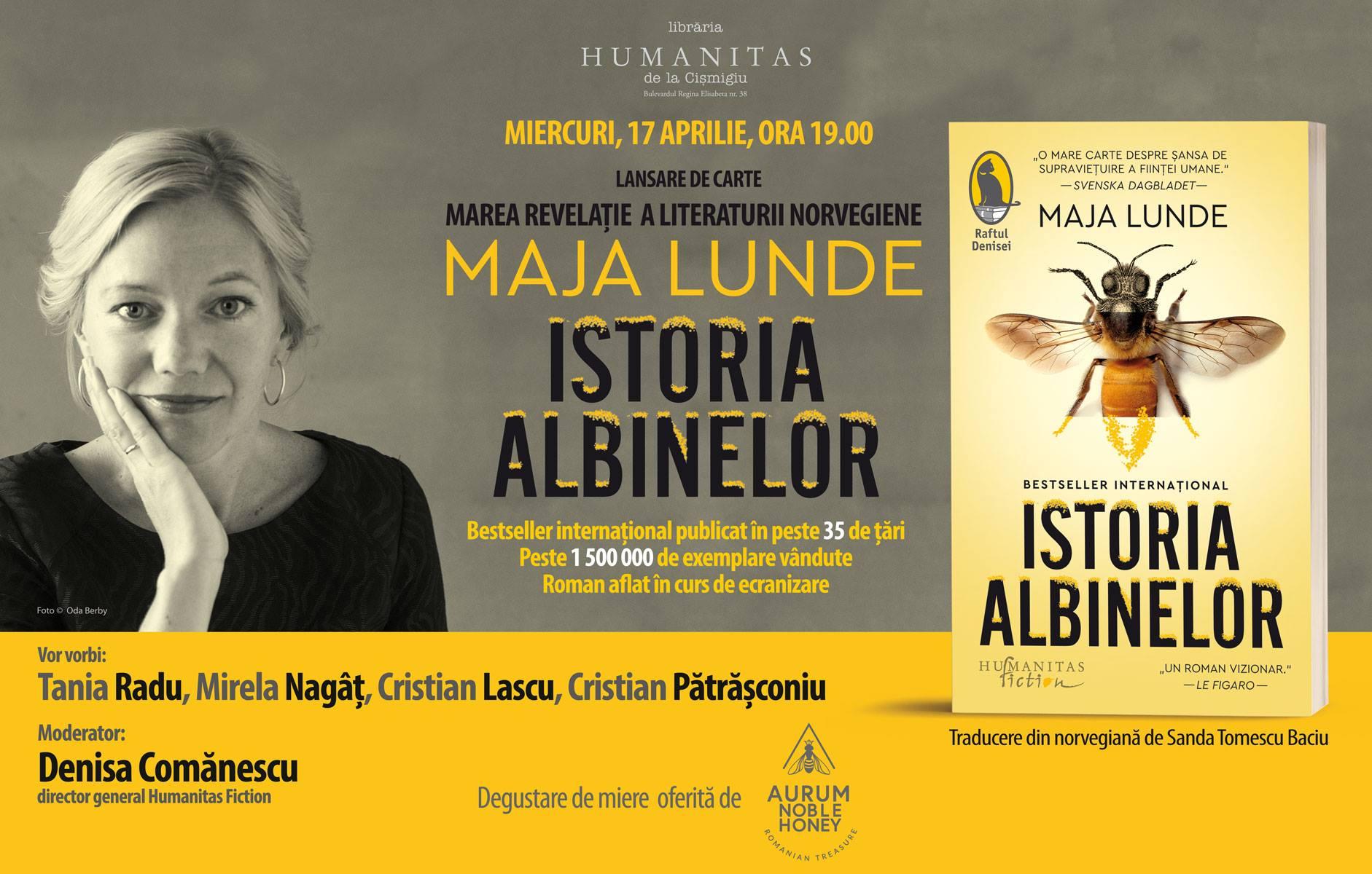 """Lansare """"Istoria albinelor"""", de  Maja Lunde"""