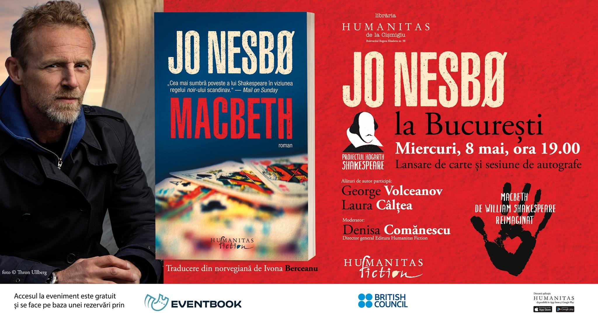 """Jo Nesbø la București –  Lansare """"Macbeth"""", Hogarth Shakespeare"""