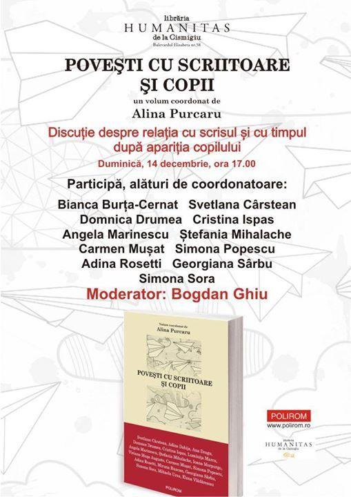 """""""Povești cu scriitoare și copii"""" la Librăria Humanitas de la Cișmigiu"""