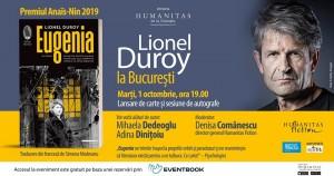 """Lionel Duroy la București: lansarea romanului """"Eugenia"""""""
