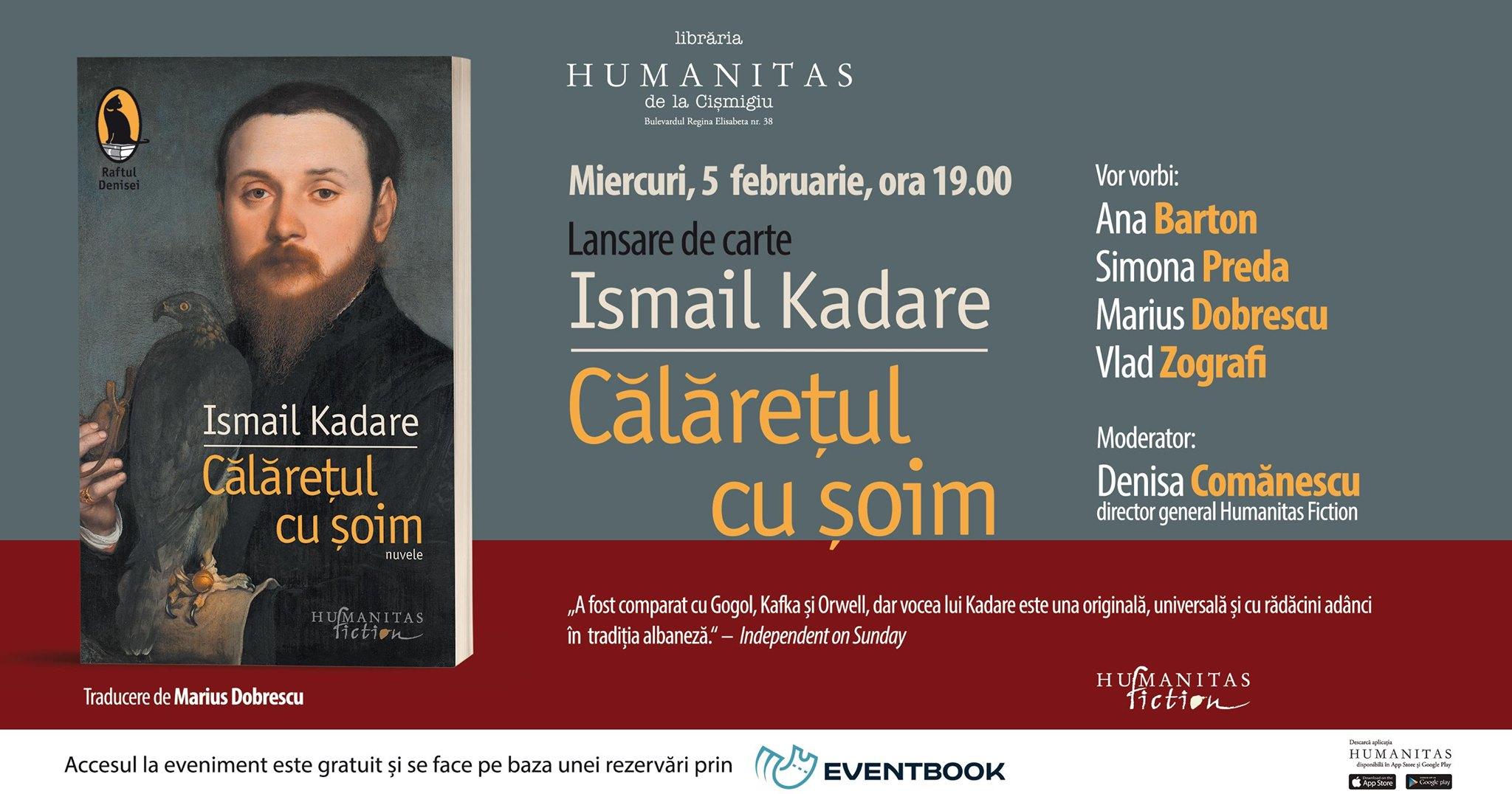 """Lansare Ismail Kadare – """"Călărețul cu șoim"""""""