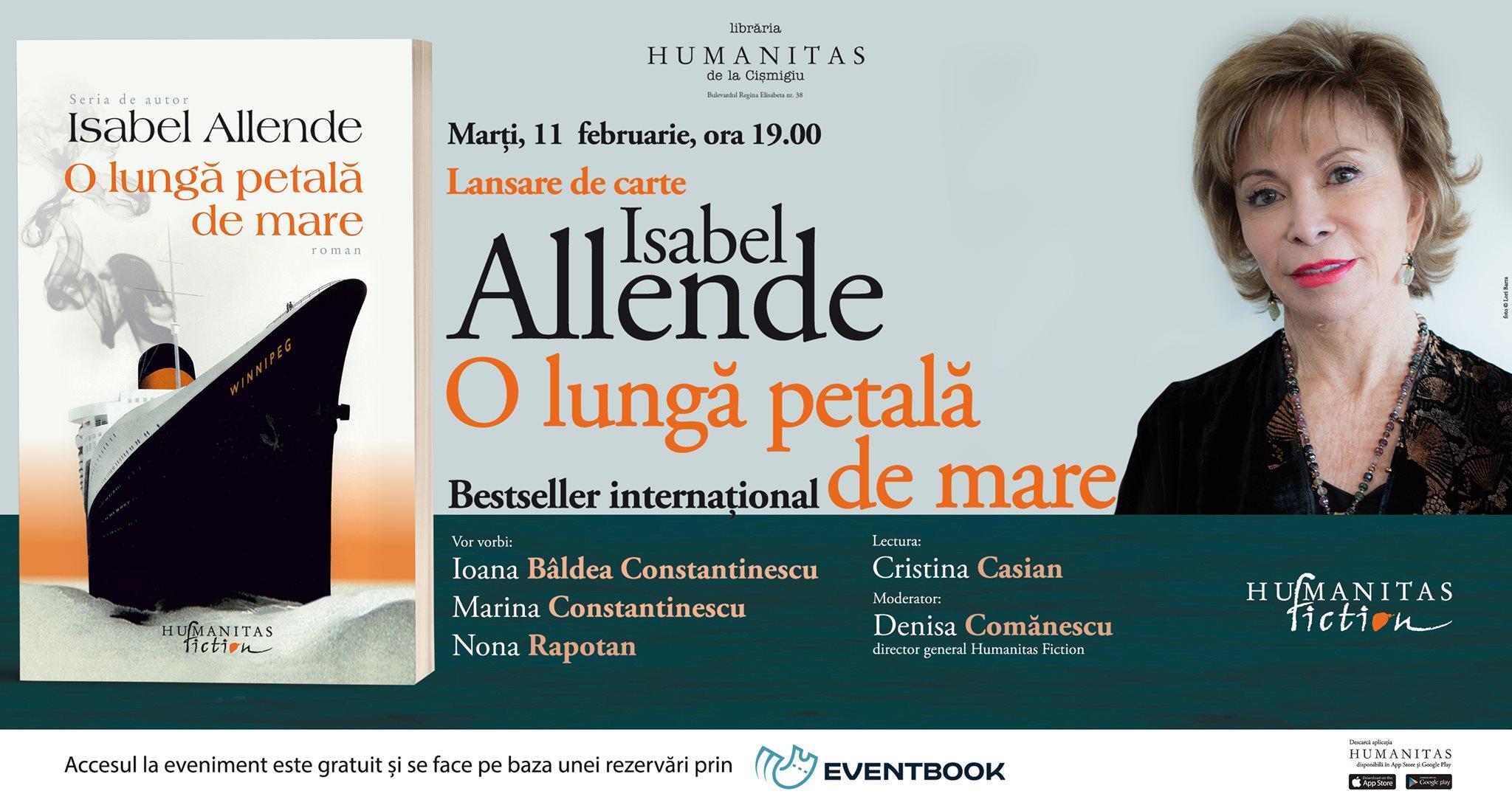 """Lansare Isabel Allende – """"O lungă petală de mare"""""""