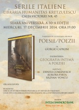 Seară italiană aniversară la Libraria Humanitas Kretzulescu