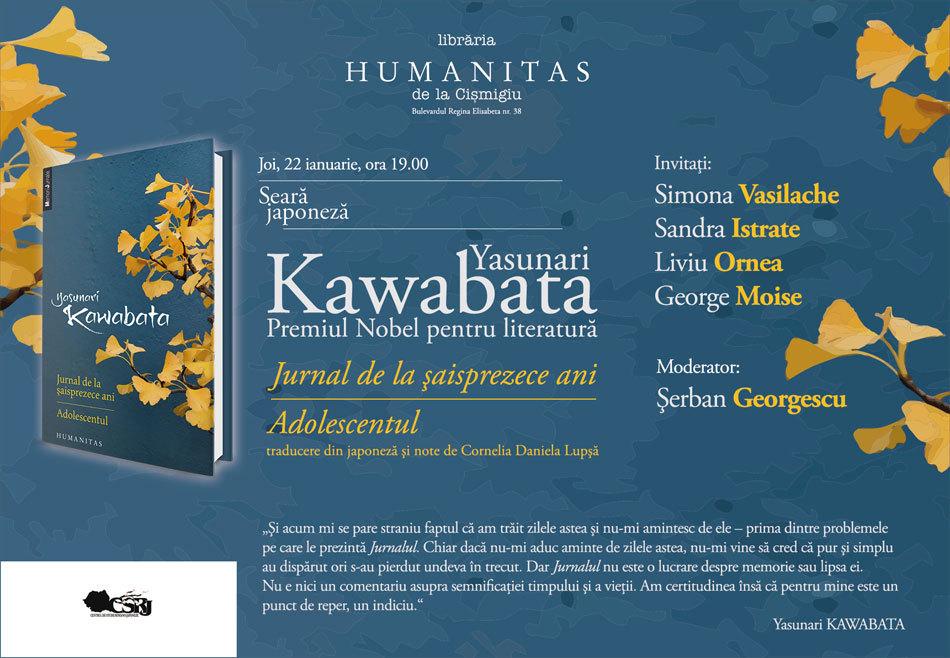 Seară japoneză dedicată scrierilor autobiografice semnate de Yasunari Kawabata