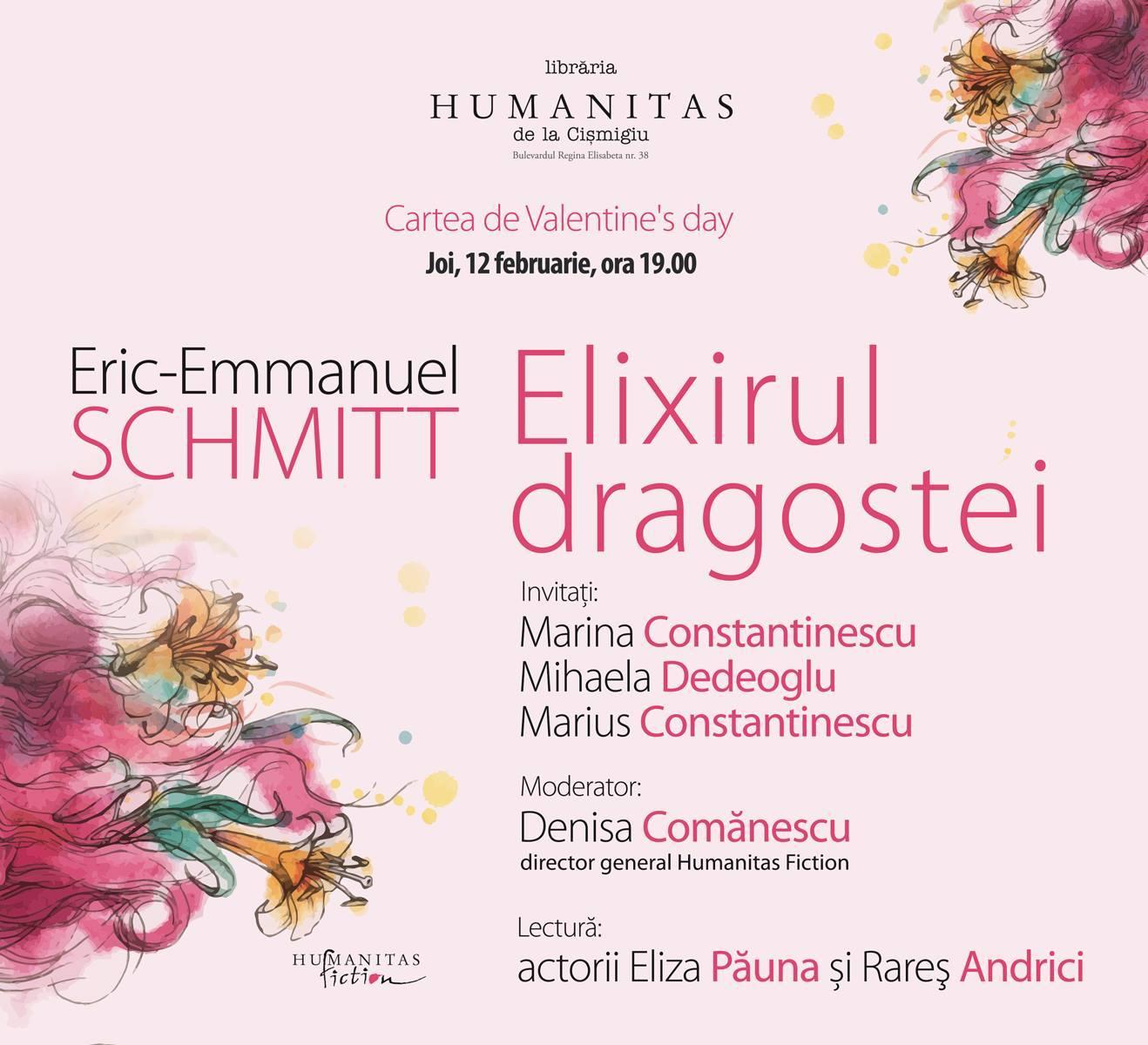"""Lansare de carte Eric-Emmanuel Schmitt, """"Elixirul dragostei"""""""