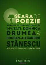 Seara de poezie la Librăria Bastilia: Domnica Drumea și Bogdan-Alexandru Stănescu