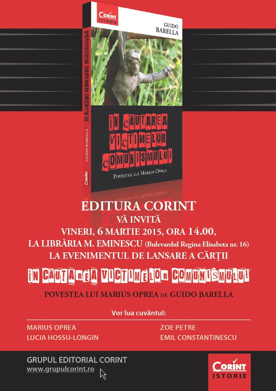 """Lansare de carte: """"În căutarea victimelor comunismului. Povestea lui Marius Oprea"""""""