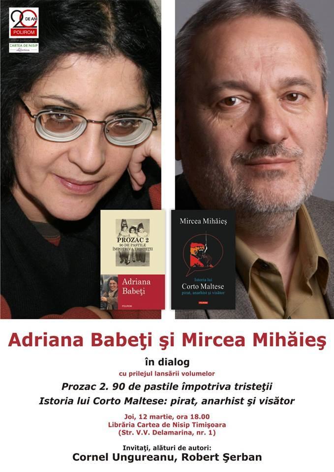 Adriana Babeți și Mircea Mihăieș în dialog cu cititorii din Timișoara
