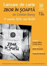 """Lansare de carte, """"Zbor în șoaptă"""", de Cristian Boroș"""