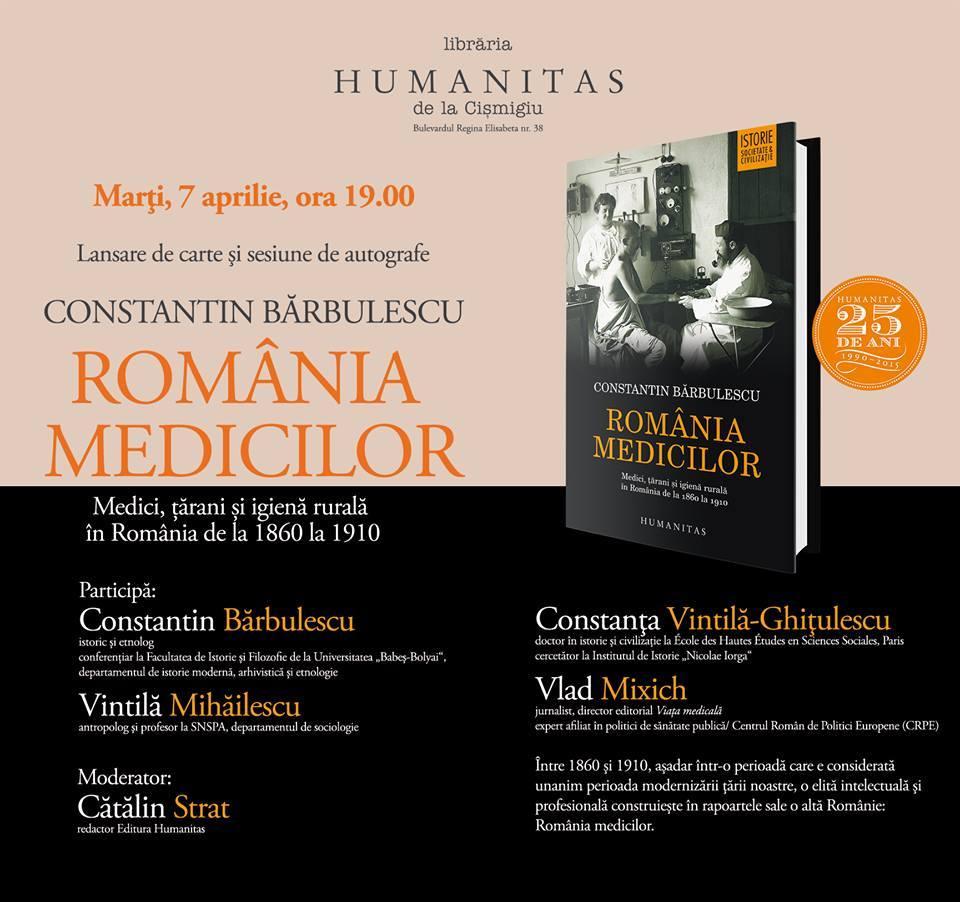"Lansare ""România medicilor"" la Humanitas Cişmigiu"