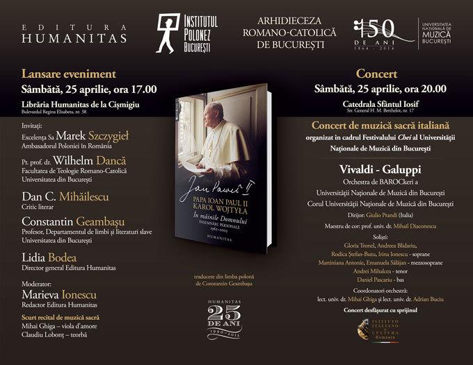 """Lansare-eveniment, Papa Ioan Paul II, """"Însemnări personale"""""""