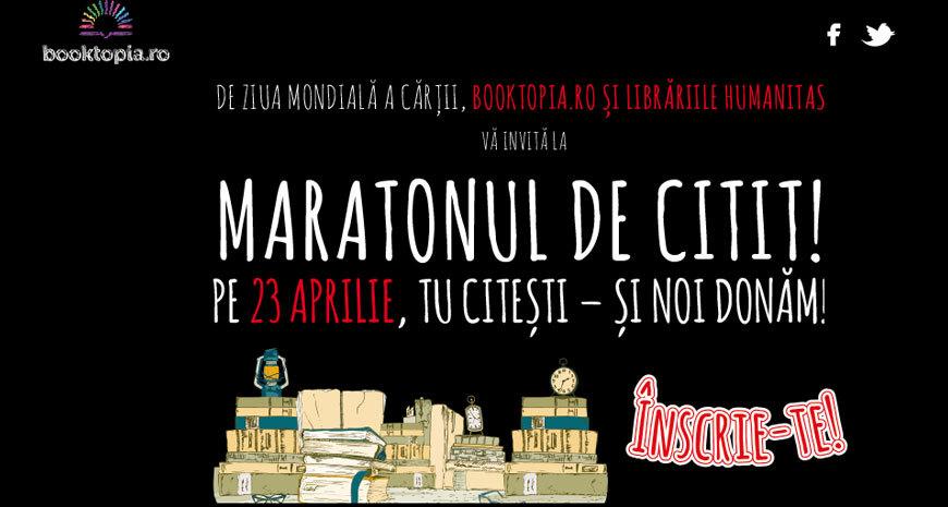 Pe 23 aprilie Booktopia și Librăriile Humanitas organizează Maratonul de citit