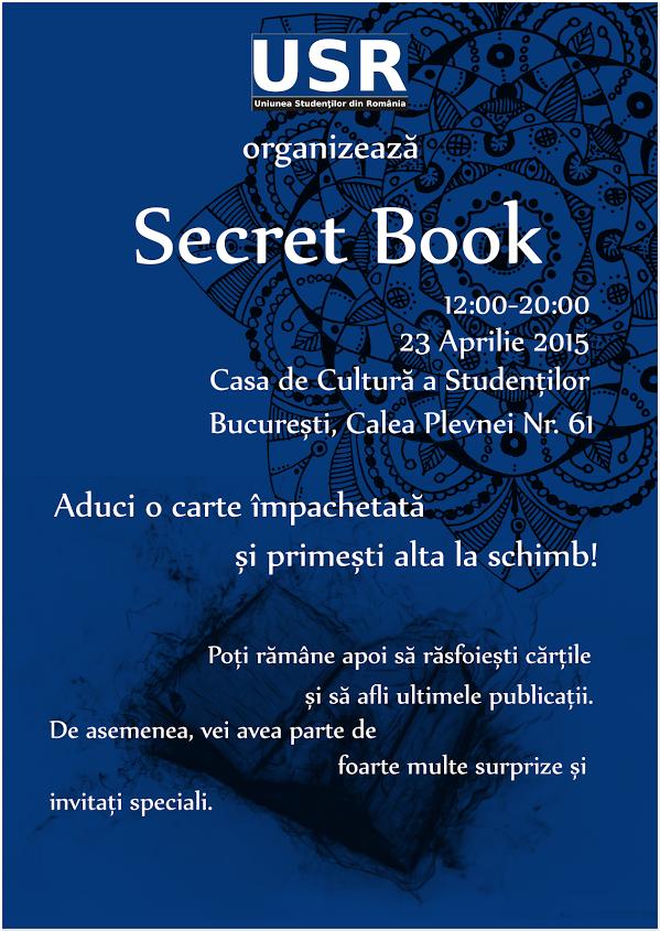 """Uniunea Studenților din România organizează """"Secret Book"""" de Ziua Cărții"""
