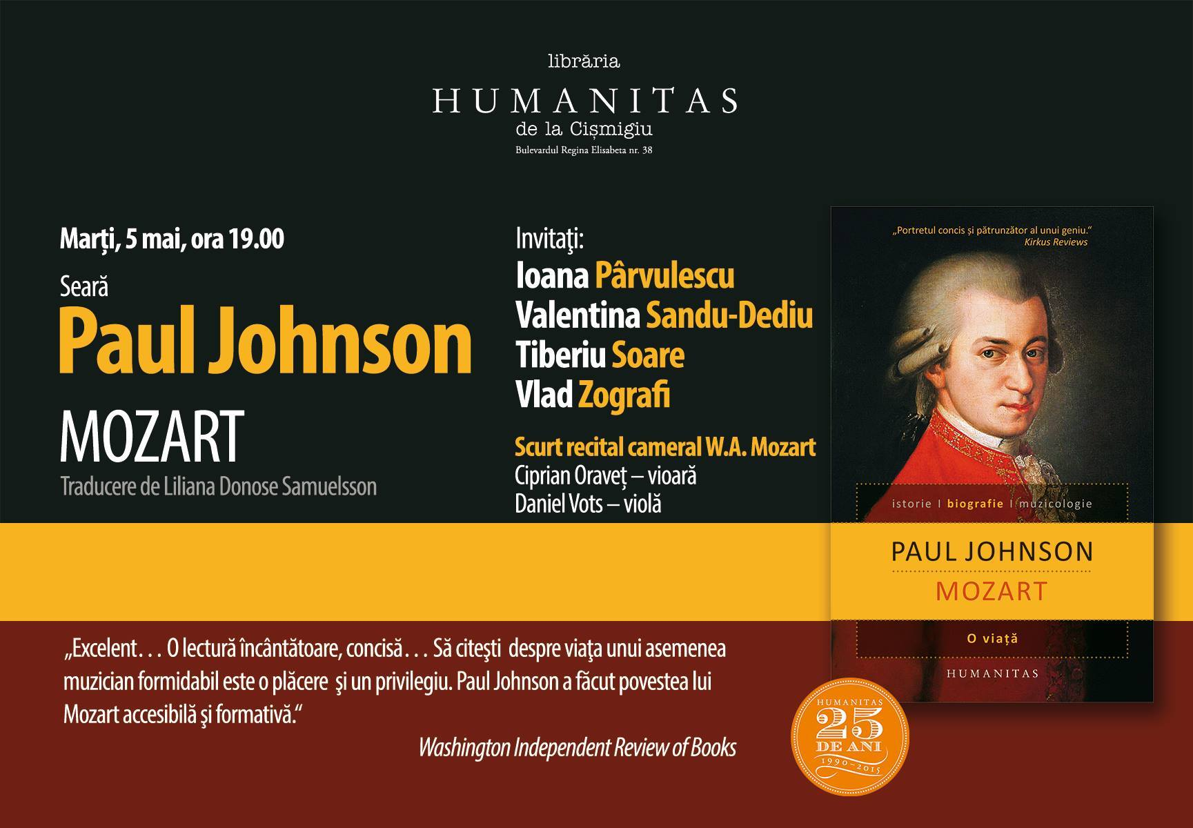 """Seară Paul Johnson, """"Mozart"""" la Librăria Humanitas de la Cișmigiu"""